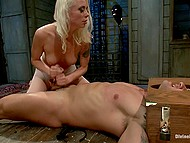 Bossy perverted girl torments tied up man but still makes him cum with hands before interview