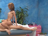 Skinny masseuse satisfies boss who tests her professional skills and checks if she is deserving some tips