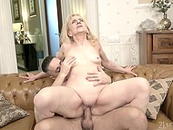 Sex with slick-haired gentleman makes old blonde realize that she is a desirable woman
