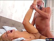 Splendid blonde from Serbia is so moved by a flower that she rewards the old sugar daddy by fuck right away