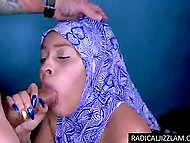 Religious girl from the Middle East doesn't take off hijab even when works on cock using mouth
