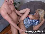 Incredible blonde mom sucked off son's friend and then he fucked her as good as it's possible