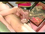 Comrade officer caught the spy and brought her to commander where they had a threesome examination