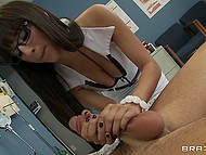 Naughty doctor sees her patients morning wood and decides to ease his pain with a handjob and mouth