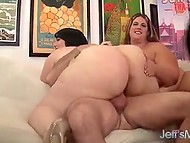 Four BBWs becomes older man's sex partners so he has to try his best to satisfy them