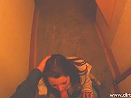 Stairwell isn't the best place for a fuck but the Russian with camera and girl are okay with it