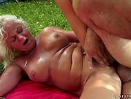 Old blonde doesn't need to masturbate asshole because anal expert shows up in time
