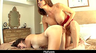 Dirty stepmother shows her young and attractive stepdaughter how useful tongue and fingers can be