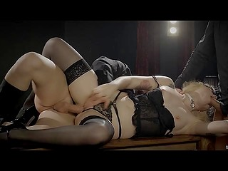Two studs and blonde in stockings Misha Cross meet in darkened room to have fetish group fuck