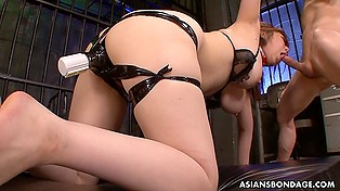 Males fuck oriental chick in all the holes shoving small cocks as deep as possible