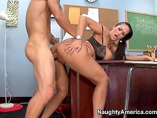 Hot teacher Carmella Bing with huge tits thinks there is nothing bad about spreading legs for student