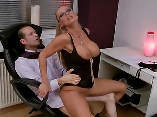 Boss of a German company sees nerdy secretary's ass and can't resist keeping cock in pants