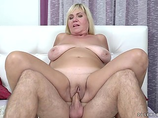 Blonde granny with saggy boobs Pam Pink still in shape to have fantastic sex with her young lover
