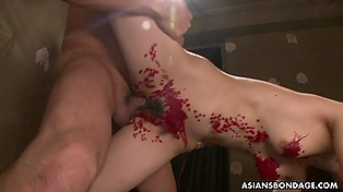 Sexy skinny Asian babe cums over and over again but evil men continue drilling her