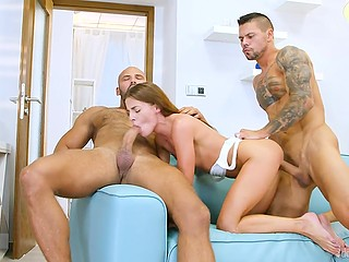 Men understand girl is afraid of two hard cocks but finally, she cums with threesome