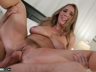 Man shoves a toy into the Lena Paul's pussy and then makes her suck before vaginal sex