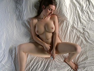 Female had awesome sex yesterday and today she recalls it and masturbates with a toy