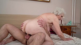 Female with white hair invited neighbor for a cup of tea but he misunderstood granny and penetrated her
