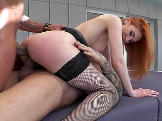 Unlike brunette, redhead doesn't wait for special invitation and already gets it on with two guys