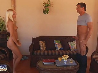 Blonde babe took pity on old man and gave narrow asshole to him for hard fucking