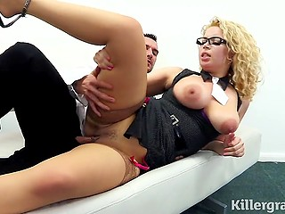 Sexy secretary with round assets Aruba Jasmine is happy to ride boss' hard cock during lunch break