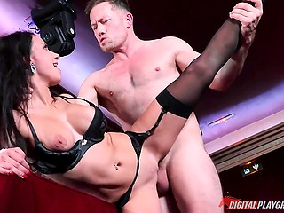 Guy and MILF in black underwear postponed all business for the sake of hookup in the red room