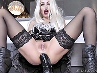 What to expect from blonde MILF with red lipstick but bonking own fanny with huge black dildo