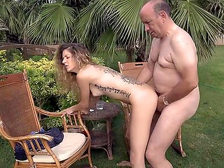 Old man is very similar to his stepson so the thoughtless girl can also have sex with him