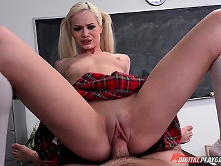 Lucky guy spends detention by drilling tight pussy of naughty blonde schoolgirl Elsa Jean in empty class