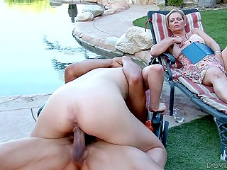 Lustful mature watches husband fucking pretty stepdaughter and masturbates by the poolside