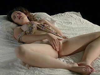 Attractive girl with curly hair has to bring excited pussy to orgasm to sleep soundly