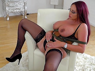Nerdy business lady with massive hooters comes home and relieves stress masturbating pussy