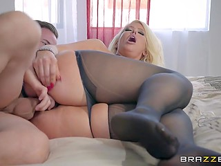 Full-bosomed blonde Alura Jenson with huge butt moans loudly receiving pleasure from stepson's cock