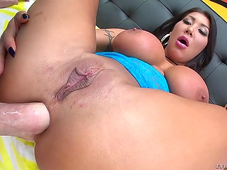 Black-haired bombshell with huge boobs August Taylor anally penetrated with throbbing fuckstick