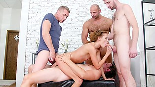 Home is a place where the small-tittied young whore can practice sex with four men