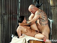 Brunette Whitney Wright kisses the bald man making him understand that her pussy is wet and craves his cock