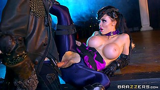 Bodacious brunette with round tits Aletta Ocean drilled by masked guy who is owner of huge prick