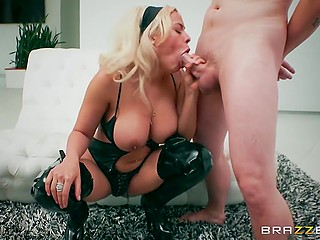 On the comfortable white sofa big-boobied woman makes the friend's dream of fucking her come true
