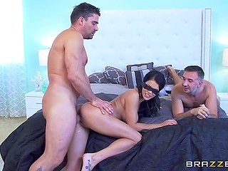 Husband of the big-boobied hottie Peta Jensen makes a surprise to her by bringing a friend for threesome sex