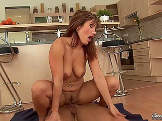 Young stud joins beautiful Czech stepmother just in time for fantastic lovemaking in the kitchen