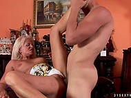 Brutal bald guy fucks the blonde old wife and it's the best thing that can happen in the morning