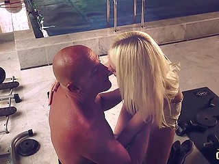 Light-haired lovely easily involves the old landlord in sex that ends with cumshot in her mouth
