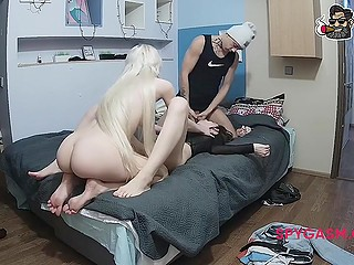 Naked blonde with extremely long hair watches the friend sucking roommate's cock