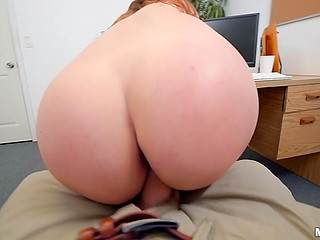 Red-haired student with glasses Scarlet Johnson sucks and rides teacher's boner in his cabinet