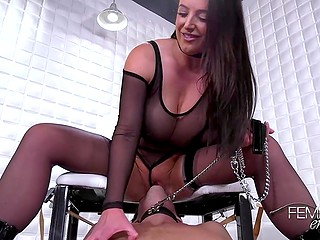 Gorgeous mistress Angela White dominates stud forcing him to carefully lick her sweet snatch