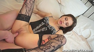 Slender Russian courtesan in sexy lingerie has unforgettable sex with modest and hungry client