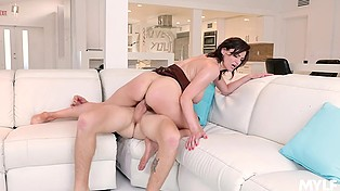 Dark-haired MILF likes young stepson's dick and she is keen to be fucked once again