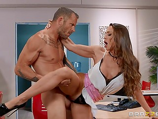 Long-haired stunner Abigail Mac with big breasts and tan lines initiates fuck in the office