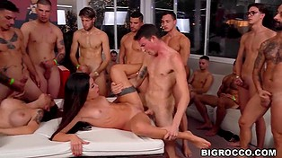 Italian producer decides to film gangbang, so he needs two sluts and a group of guys