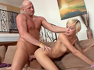 Housemaid has a chance to earn money for sex with the bald lecher and she successfully does it